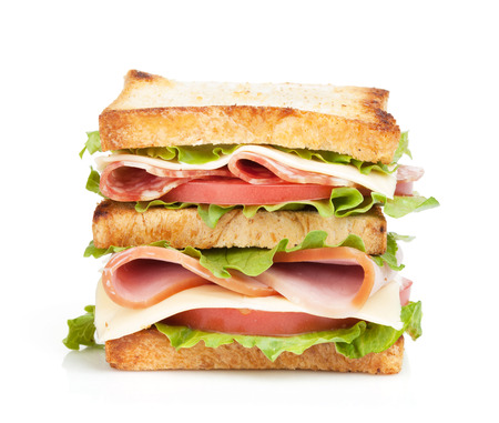 Toast sandwich with meat and vegetables. Isolated on white background photo