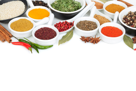 Various spices selection. Isolated on white background Imagens