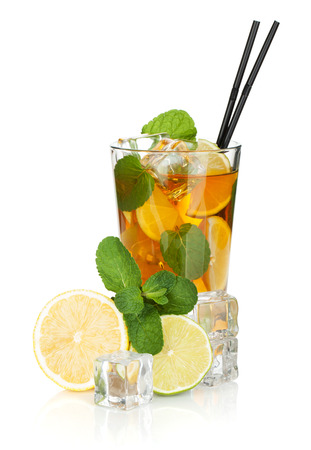 Glass of ice tea with lemon, lime and mint. Isolated on white background photo