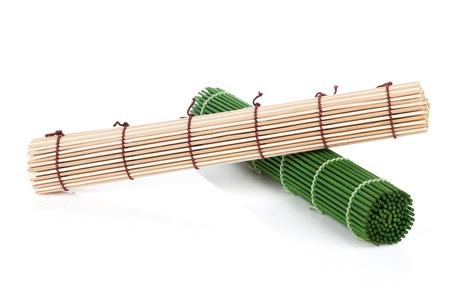 Bamboo mats. Isolated on white background photo