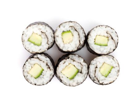 Sushi maki with cucumber. Isolated on white  Stock Photo