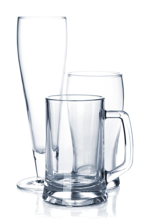 Empty beer glass set  Isolated on white background photo