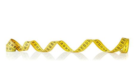 cintas metricas: Cinta métrica amarilla. Aislado en el fondo blanco Foto de archivo