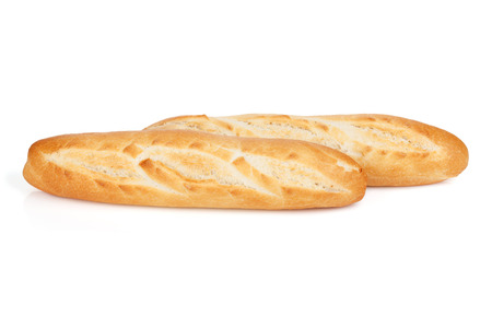 baguet: French baguette. Isolated on white background