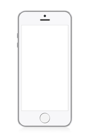 White modern smart phone illustration. Perfectly detailed. Isolated on white background illustration