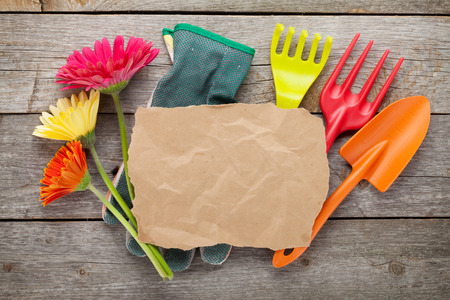 Gardening tools and colorful flowers and paper for copy space on wooden table background photo