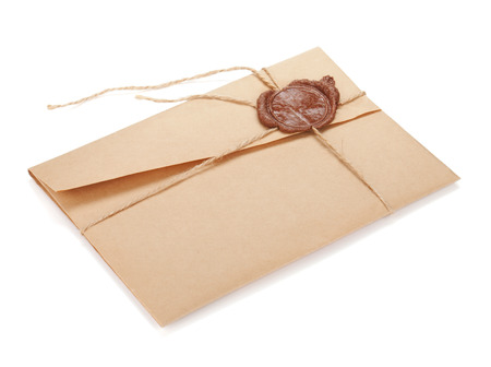 envelope: Vintage envelope with stamp. Isolated on white background