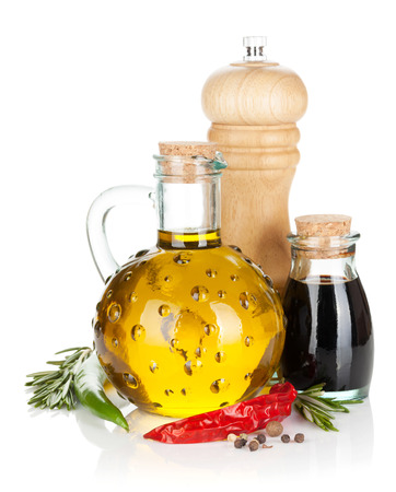 Olive oil and vinegar with spices.  photo
