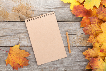 Blank page and colorful autumn maple leaves on wooden table background Stock Photo