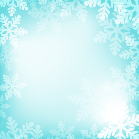 Abstract blue and white christmas background with snowflakes Vector