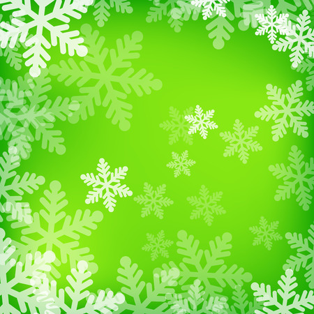 Abstract green and white christmas background with snowflakes Vector