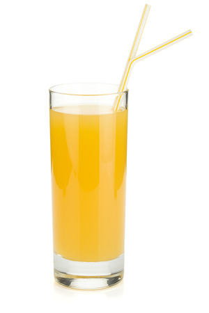 pineapple  glass: Pineapple juice in a glass with drinking straws. Isolated on white background