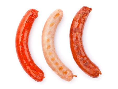 bratwurst: Various grilled sausages. Isolated on white background Stock Photo