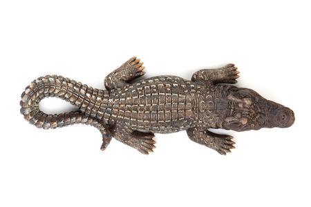 crocodile: Fauna cocodrilo boca abierta. Aislado en el fondo blanco