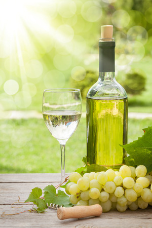 white wine bottle: White wine glass and bottle with bunch of grapes in sunny garden