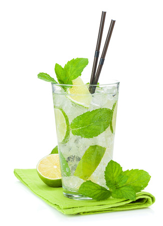 Fresh mojito cocktail. Isolated on white background photo