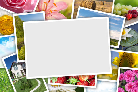 colorful frame: Stack of printed pictures collage with copy space for your photo Stock Photo