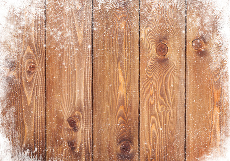 wooden panel: Old wood texture with snow christmas background