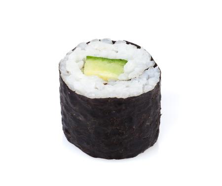 maki: Sushi maki with cucumber. Isolated on white background
