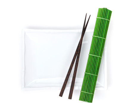Empty plate, chopsticks and mat. Isolated on white background photo