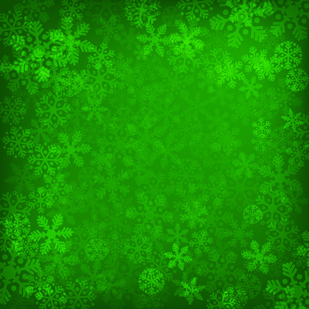 Abstract green christmas background with snowflakes Vector