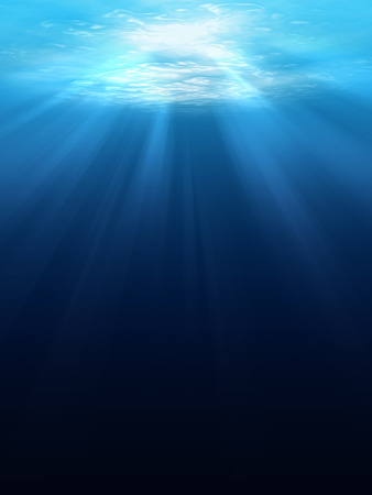Underwater scene background with sunlight