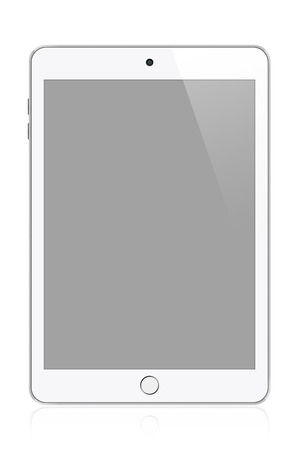 White modern tablet illustration. Perfectly detailed. Isolated on white background illustration