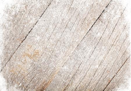 古い木材のテクスチャと雪のクリスマスの背景 写真素材