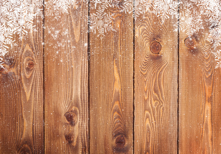 frame wood: Old wood texture with snow christmas background