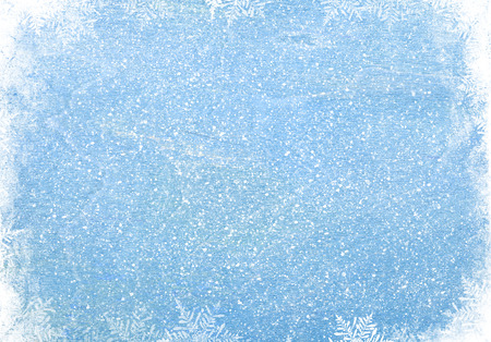 Blue wood texture with snow christmas background Imagens - 32982329