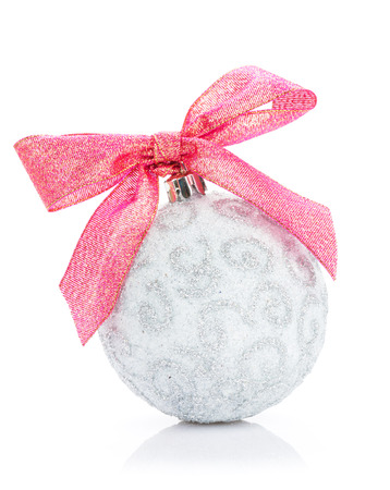 Christmas bauble with red ribbon.  photo