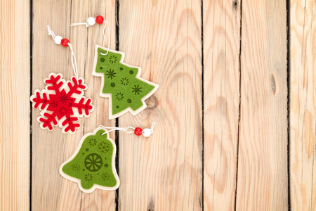 Christmas decor on wooden background with copy space photo