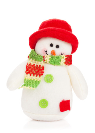 Christmas snowman toy. Isolated on white background photo