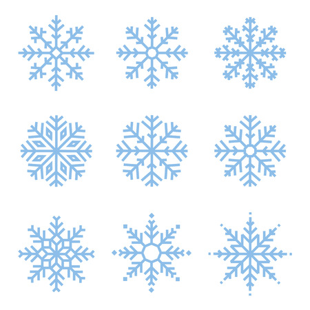 vector: Various winter snowflakes vector set