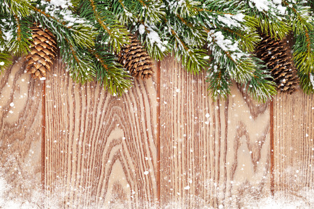 Christmas wooden background with snow fir tree and pinecones photo