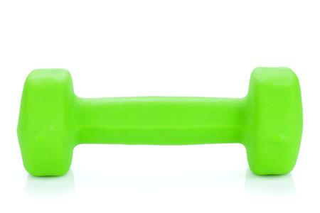dumbell: Green dumbell. Isolated on white background Stock Photo