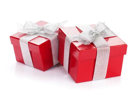 Christmas gift boxes. Isolated on white background photo