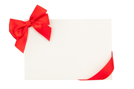 ribbon: Valentines day greeting card with red ribbon. Isolated on white background
