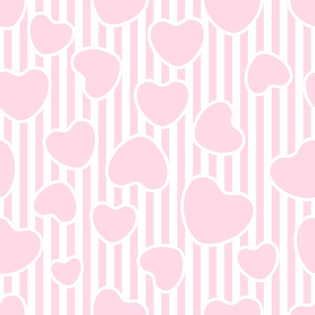 pink stripes: Valentines day seamless background with hearts