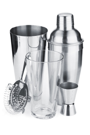 cocktail strainer: Cocktail shakers, strainer and jigger. Isolated on white background Stock Photo