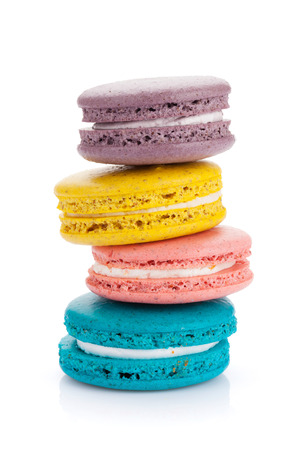Colorful macaron cookies. Isolated on white background photo