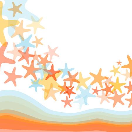Colorful sea starfish illustration over white background Illustration