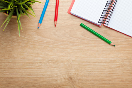 lapiz y papel: Vector de la oficina con la flor, la libreta en blanco y l�pices de colores. Vista desde arriba, con copia espacio