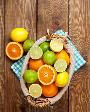 Citrus fruits in basket.