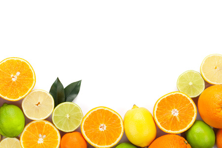 Citrus fruits Isolated on white background with copy space