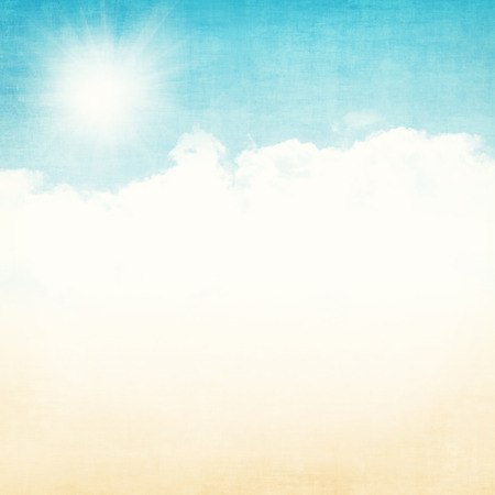 blue grunge background: Grunge abstract summer background with blue sky and gold sand