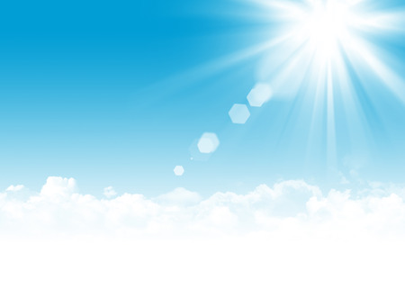 Blue sky, clouds and sun abstract background illustration with copy space
