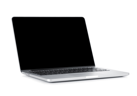 Laptop with blank black screen. Isolated on white background