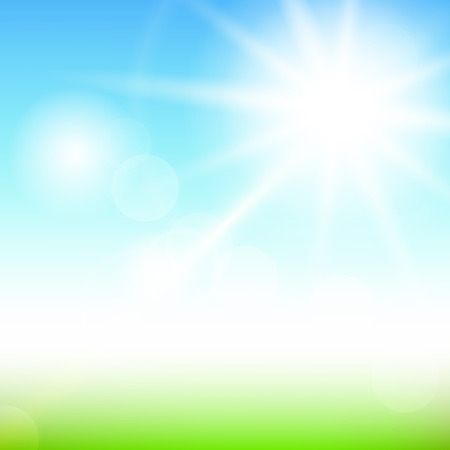 Nature sunny abstract summer background with sun and bokeh Vector