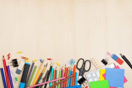 school border: School and office supplies over office table. Top view with copy space Stock Photo